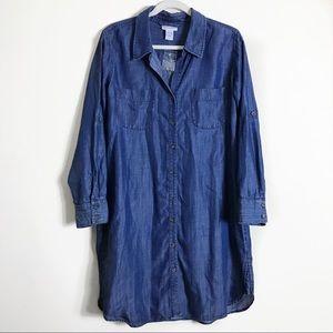 Soft Surroundings denim chambray Shirtdress petite
